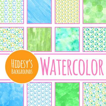 Handpainted Watercolor Recycle Symbol Digital Paper / Backgrounds Clip Art