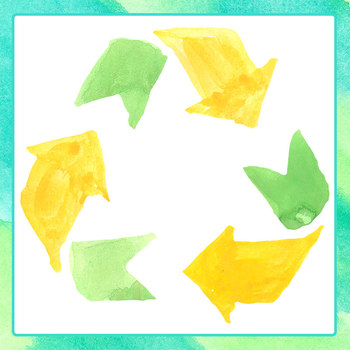 Handpainted Watercolor Recycle Symbols for Earth Day Clip Art Set Commercial Use