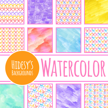 Handpainted Watercolor Scissors Digital Papers / Backgrounds Clip Art
