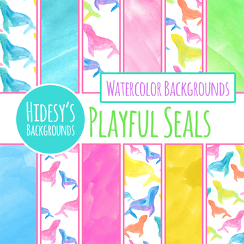 Handpainted Watercolor Seal Animals Digital Paper Clip Art for Commercial Use