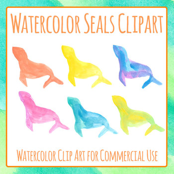 Handpainted Watercolor Seals Clip Art Set for Commercial Use