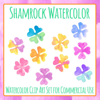 Handpainted Watercolor Shamrock or Four Leaf Clover Clip Art Commercial Use