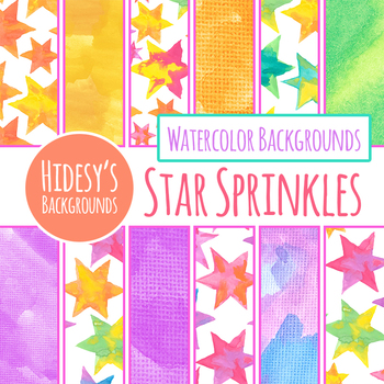 Handpainted Watercolor Stars / Starry Digital Papers / Backgrounds