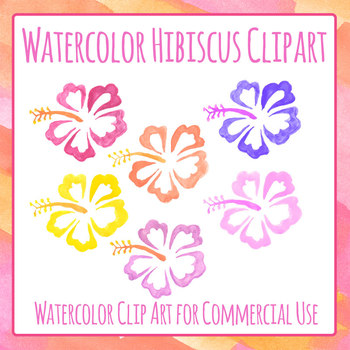 Handpainted Watercolor Tropical Hibiscus Flowers Clip Art Set for Commercial Use