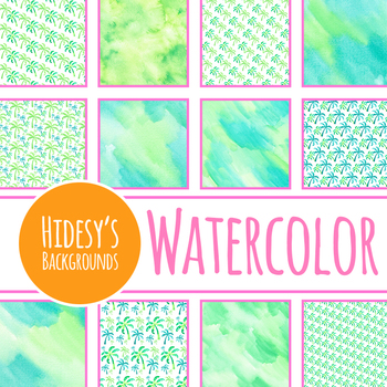 Handpainted Watercolor Tropical Palm Tree Digital Papers / Backgrounds