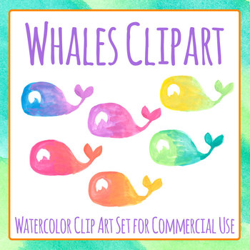 Handpainted Watercolor Whales Clip Art Set for Commercial Use