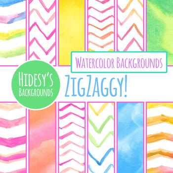 Handpainted Watercolor Zig Zag Digital Paper / Backgrounds Clip Art Set