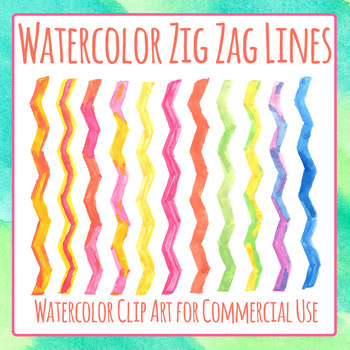 Handpainted Watercolor Zig Zag Lines / Page Dividers Clip Art Set