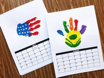 Handprint Calendar 2019 2020 - Editable
