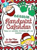 Handprint Calendar Christmas Gift (Editable)