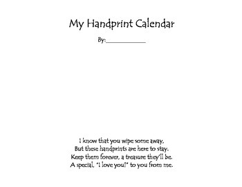 Handprint Calendar to use as a holiday gift