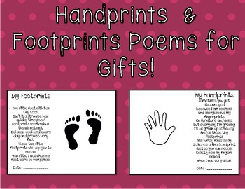 picture relating to Footprints Poem Printable titled Handprint Footprint Poem Reward for People