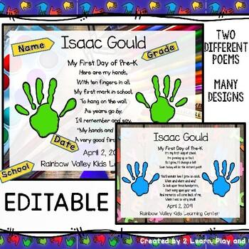 First day of Preschool, Pre-K or Kindergarten Handprints