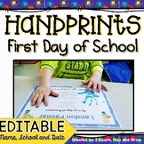 First day of School Handprints Poem Preschool, Pre-K or Kindergarten EDITABLE