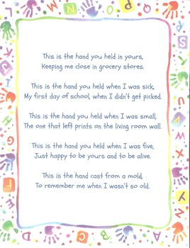 Handprint Poem For Handprint Mold Project