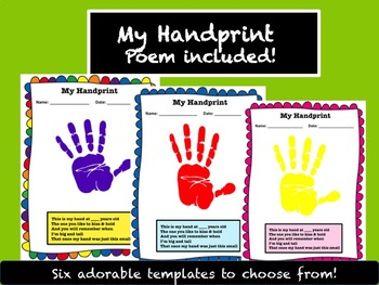 6 Adorable Handprint Templates With Poem
