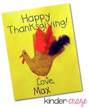 Handprint Turkey Thanksgiving Card Template by Maria Gavin ...