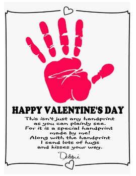 Handprint Valentines day poem parent gift craft