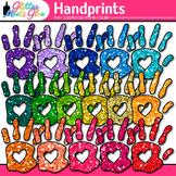 Rainbow Handprint Clip Art {Community Helper Hands for Brag Tags & Task Cards}