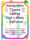 Handprints Theme Center Labels - Editable!  (includes TS Gold & AL standards)