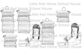 Handrawn Clipart Literacy Girl Reading 6 Images High Resolution Set