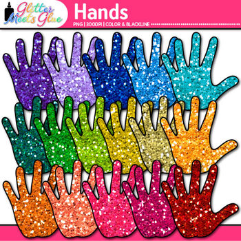 Rainbow Hand Clip Art {Community Helper Handprints for Brag Tags & Task Cards}
