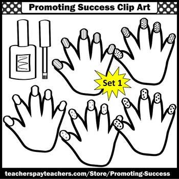 Hands Clipart, Nail Polish, Girl Clip Art Set 1, Five Finger, Commercial Use SPS