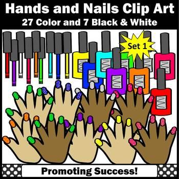 Painted Nail Polish Clipart, Girl Clip Art, Spa Day,  SPS