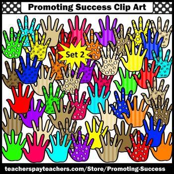 Hands Clipart Set 2, Colorful Five Finger, Commercial Use SPS