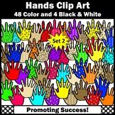 52 Hands Clipart Set 2, Colorful Five Finger, Commercial Use SPS