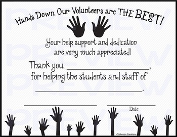 Hands Down, Our Volunteers are THE BEST! Certificate