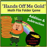 March Math File Folder Game - Hands Off Me Gold / St. Patr
