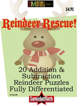 Addition Practice Puzzles: Reindeer Rescue w/ Smartboard Module
