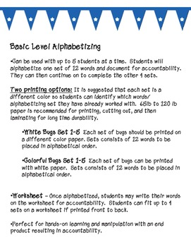 Hands-On Alphabetizing Center (Basic and Intermediate)