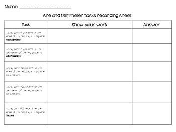 Hands On Area and Perimeter Tasks FREEBIE!