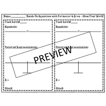 Hands On Equations Lessons 8-10 - Algebra Task Cards - Fun for Beginning of Year