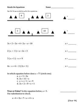 Solving Equations Simplifying Practice Worksheets algebra homework 6.EE.A2