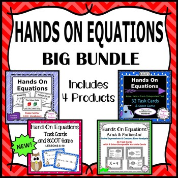 Hands On Equations - Big Bundle - 4 Sets of Algebra Task Cards & Posters!