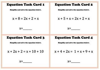 Solving Variable Equations Algebra Task Card Sets 6.EE.A2