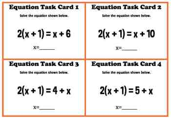 Algebraic Equations with Coefficients Algebra Task Cards Common Core 7.EE.1