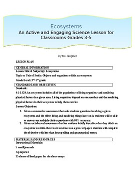 Hands On Learning: Ecosystems for Grades 3-5