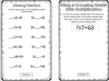 Hands-On Math Booklet 3.OA.4 {Missing Numbers in Multiplication & Division}