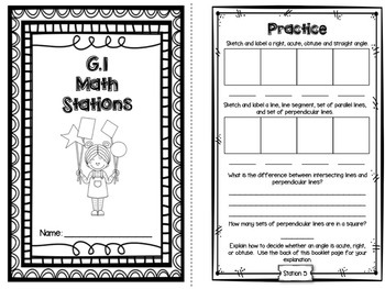 Hands-On Math Station Booklet - G.1 {Geometry / Lines / Rays / Angles}