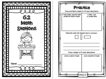 Hands-On Math Station Booklet - G.2 {2-Dimensional Figures} Geometry