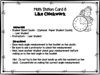 Hands-On Math Station Booklet - MD.6 {Measurement / Protractor / Angles}
