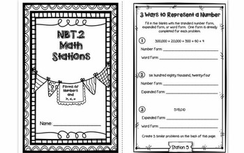 Hands-On Math Station Booklet - NBT.2 {Base Ten / Place Value / Expanded Form}