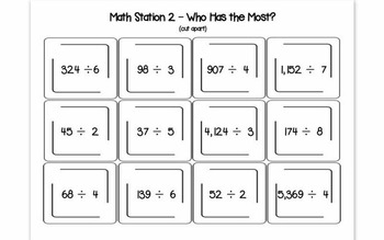 Hands-On Math Station Booklet - NBT.6 {Division / Quotients / Remainders}
