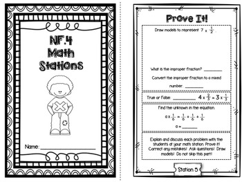 Hands-On Math Station Booklet - NF. 4 {Multiplying Fractions by Whole Numbers}
