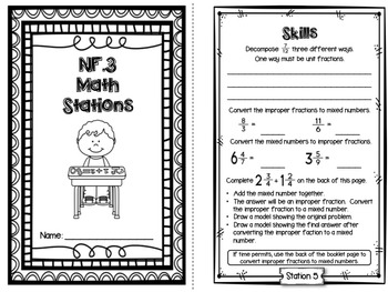 Hands-On Math Station Booklet - NF.3 { Fractions / Decompose / Mixed Numbers