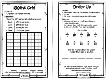 Hands-On Math Station Booklet - NF.5 {Decimal Fractions / 10ths  100ths}